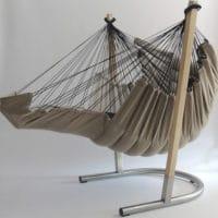 Hamac chaise Soay blanc avec l'extension dépliée pour les pieds